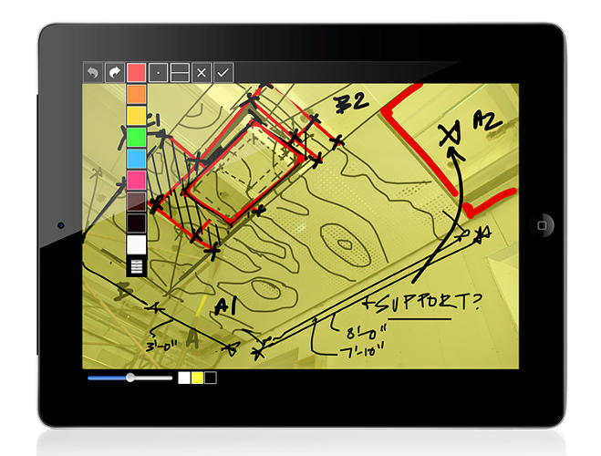 <p>&quot;Trace&quot; represents a major feature for Morpholio. It overlays digital trace paper over an uploaded image file that can be marked up with sketches and doodles in several  different colors.</p>