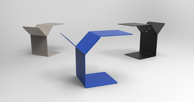 <p>The other is a simple metal end table by Urbanize, a Belgian studio comprised of recent graduates Pieter Dauwe and Joachim Van Durme. It cleverly combines a flat surface and a v-shaped storage slot into a single lightweight piece.</p>
