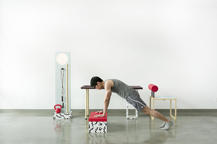 <p>The desk, chair, and floor lamp all have component parts to facilitate a full workout.</p>