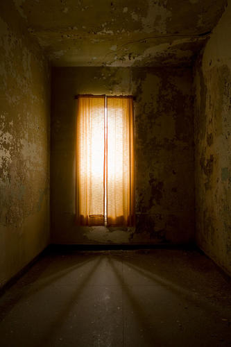 <p>Harris's photographs capture the abandoned buildings after years of neglect. The peeling walls and debris-filled rooms are somberly portrayed using natural light.</p>