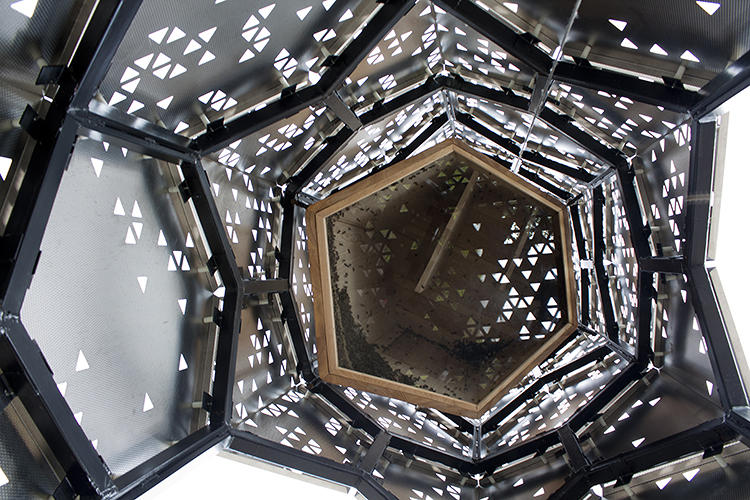 <p>Designed and built by four architecture students from the University of Buffalo, Elevator B is a posh new home for a local population of bees.</p>