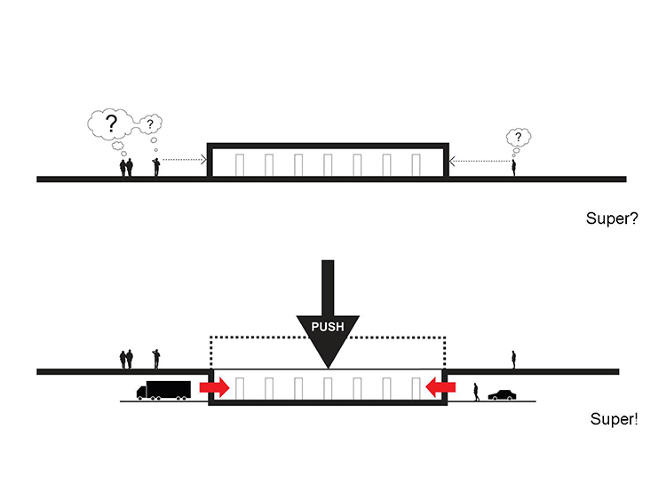 <p>The design process: above, the scheme drawn from the initial brief, and below, the architects' intervention, which sinks the supermarket one story below-ground.</p>