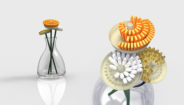 <p>Eschewing the bulky and clumsily designed medication cases, &quot;Vita Flower&quot; presents a playful way to manage your over-the-counter pill-popping schedule.</p>