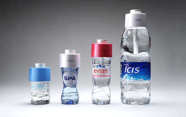 <p>The device is designed to fit nearly all plastic bottles. (Though Evian bottles will give you the most secure fit.)</p>