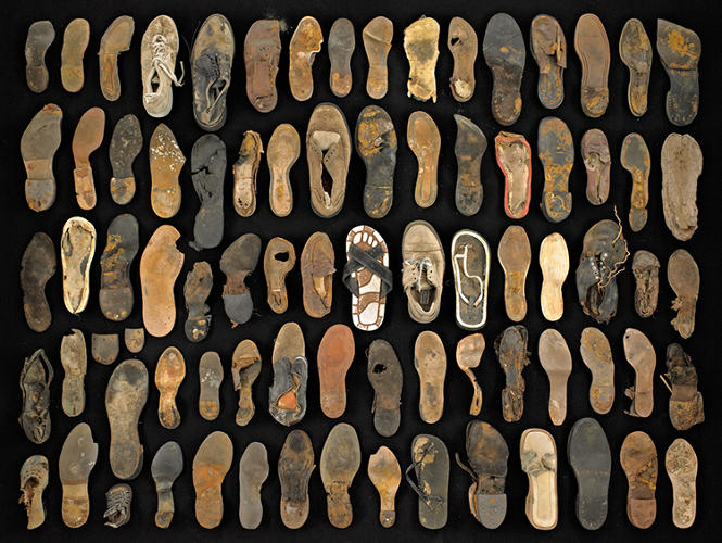 <p>Rosenthal keeps a sort of makeshift library of garbage at the studio, which enables some of the more impressive collections, like the study of vintage shoe soles, seen here.</p>