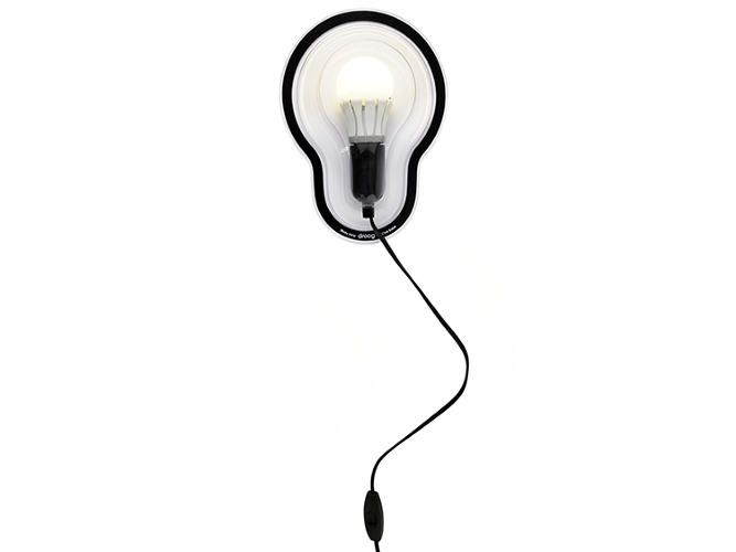 <p>The lamp consists of an energy-efficient lightbulb encased in a molded PET plastic, a material used in food packaging.</p>