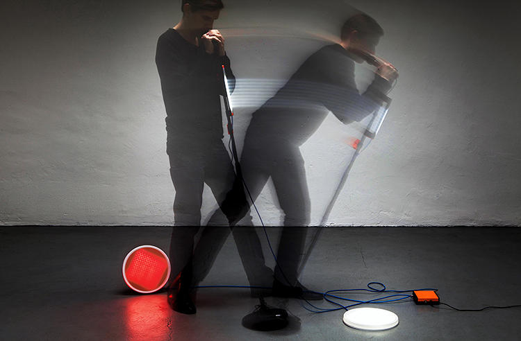 <p>The Plug + Play kit uses sensors to conjure an instant one-man band, with all the light and sound enticements on stage.</p>