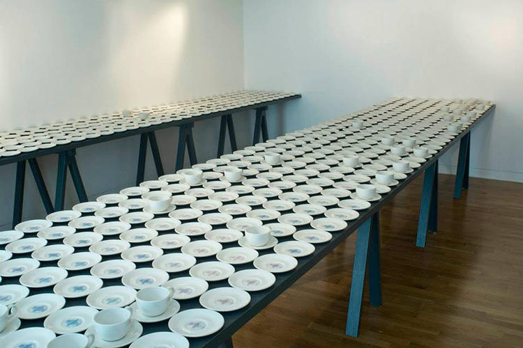 <p>&quot;Exchange&quot; is an interactive installation by artist Clare Twomey at London's Foundling Museum. Each of the 1,550 cups and saucers has a good deed printed on the bottom.</p>
