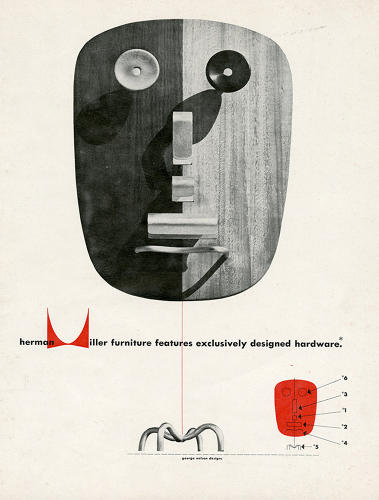 <p>When George Nelson launched his furniture line for Herman Miller, Harper was tasked with conceiving a company logo that could be stamped on each piece.</p>