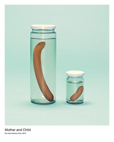 <p>In a slightly morbid turn, Wegener's take on <em>Mother and Child</em> turns sculptures of cows in glass boxes into sausage links in glass boxes.</p>