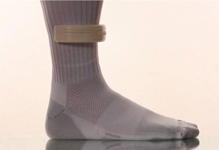 <p>This is a sock. But it's a lot smarter than most socks because it's actually sewn with cloth sensors.</p>