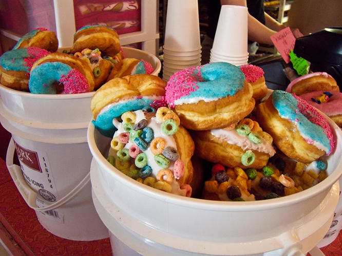 <p>And of course, their donut buckets. These budget-friendly packs unload day-old (actually, just 8-hour old) donuts to partiers. Plus, it's a clever way to dispose of a lot of plastic icing buckets.</p>