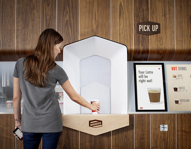 <p>The Briggo Coffee Haus is sort of like one of those automated coffee vending machines crossed with a coffee hut.</p>