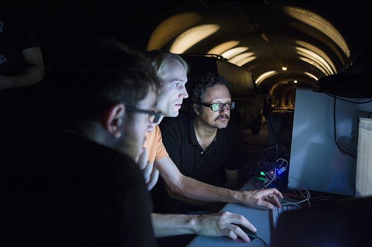 <p>The digital and interactive work of artist Rafael Lozano-Hemmer, on the far right, often focuses on themes like crowdsourced content and free speech.</p>