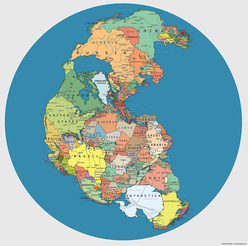 <p>Political Pangea reimagines the original supercontinent with the political boundaries of today.</p>