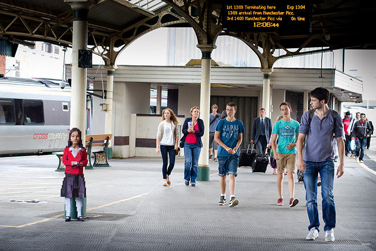 <p>It's a low-res, digital clone of his daughter, left to live in a train station.</p>