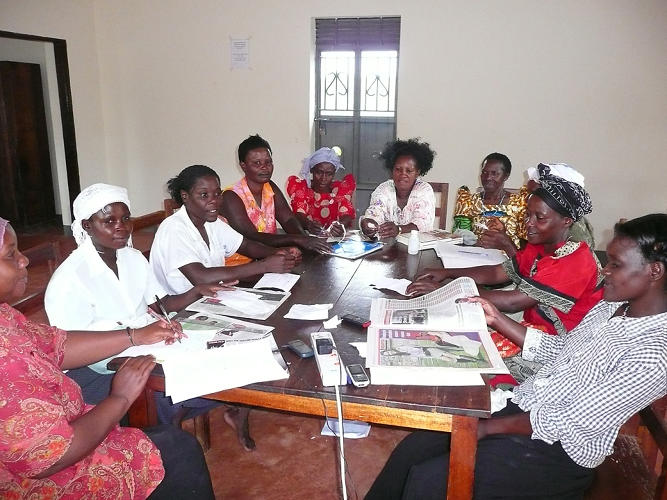 <p>A local library in Uganda hosts women's literacy classes.</p>