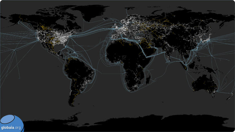 <p>A map of how the world transmits power. The orange lines are pipes, the white lines are power lines, and underwater cables are blue.</p>