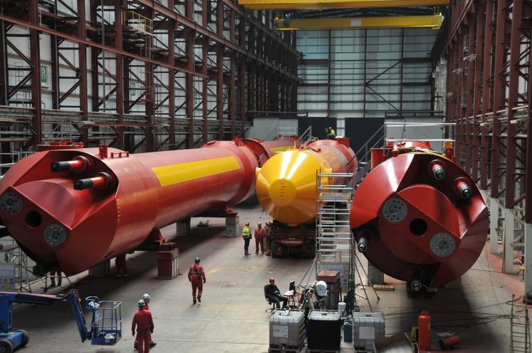 <p>Several companies are piloting <a href=&quot;http://www.pelamiswave.com/pelamis-technology&quot; target=&quot;_blank&quot;>Pelamis</a>'s wave technology. As waves pass down its five sections, the machine converts the movement into electricity &quot;via hydraulic power take-off systems housed inside each joint.&quot;</p>