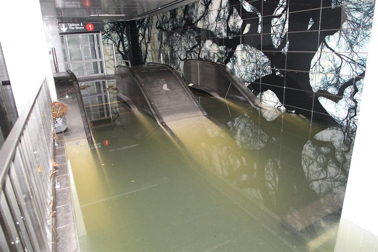 <p>Escalator under water at the South Ferry subway station.</p>