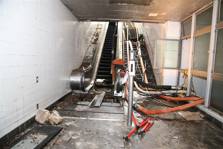 <p>The South Ferry Station, free of water, but full of debris.</p>