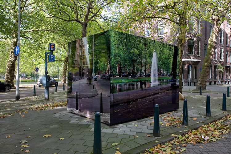 <p>His first project involved printing high-res photos to paste on a concrete electricity substation.</p>