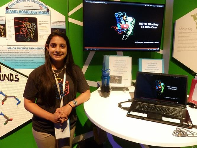 <p>A finalist in the 2012 Google Science Fair, 17-year-old Yamini Naidu is developing new treatment pathways for methamphetamine addiction with computer modeling. When we spoke to Naidu last fall, she had already found two new meth-activated binding sites on a receptor protein in the brain. Her long-term goals: getting a dual M.D. and Ph.D. and becoming a neurosurgeon.</p>