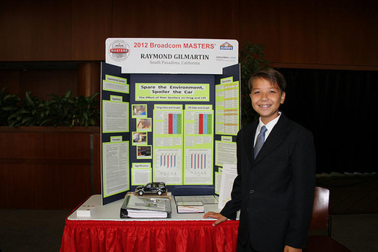 <p>14-year-old Raymond Gilmartin won the Broadcom MASTERS 2012 National Science Fair for work showing that the size and shape of rear spoilers impact drag and lift in SUVs--and in turn, that they affect gas mileage and carbon emissions.</p>
