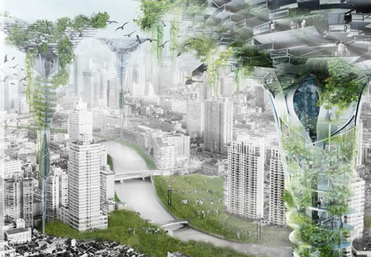 <p>This Shanghai skyscraper collects and purifies rainwater and river water--a solution to the city's lack of groundwater and polluted water supplies. An underground structure collects and cleans rainwater, which is pumped upward to the tower's green roof. The honorable mention was created by Zhang Zhiyang and Liu Chunyao.</p>