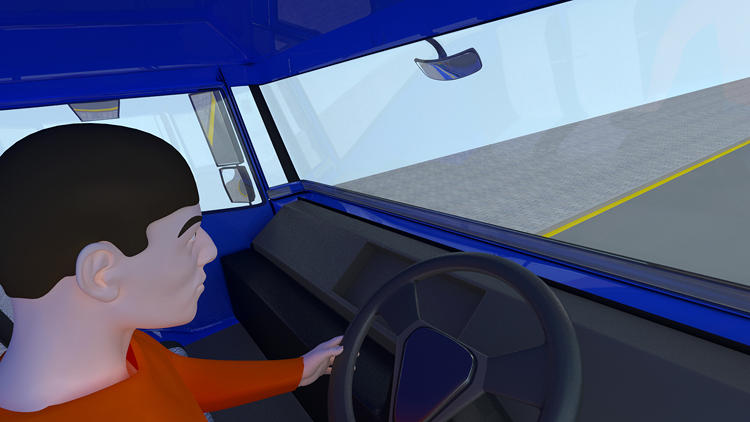 <p>This is what a normal truck driver sees: very little visibility.</p>
