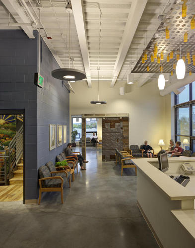 <p>The building has a rooftop community garden and open space, serious insulation to accomodate Milwaukee's temperature swings, 10-foot by 10-foot windows to maximize daylighting, a rainwater harvesting system, and carbon neutral energy usage.</p>