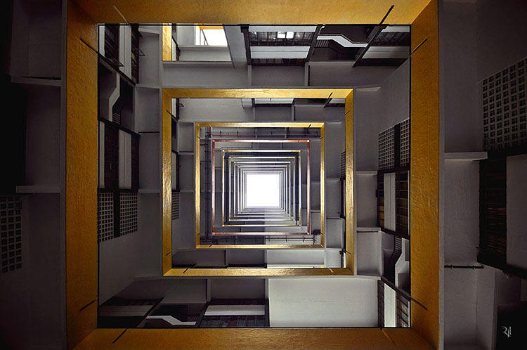 <p>In Jacquet-Lagrèze's words, &quot;<em>Vertical Horizon</em> is a reminder on how we are nothing more than a bee in the big beehive, chipping in our bit into the greater realm of society. The angles in which I make the shots emphasize the large scale of the structures around us in contrast to our own little being. Being conscious of our humble condition, to me, is the first step to move to our full potential and reach for our vertical horizon.&quot;</p>