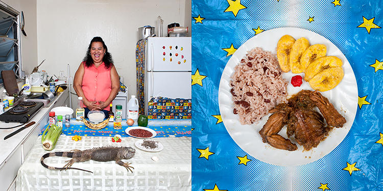 <p>After being inspired by his own grandmother and her cooking, photographer Gabriele Galimberti traveled the world taking photos of grandmothers and what they cook. Here is Maria Luz Fedric, 53, Cayman Islands. Honduran Iguana with rice and beans.</p>