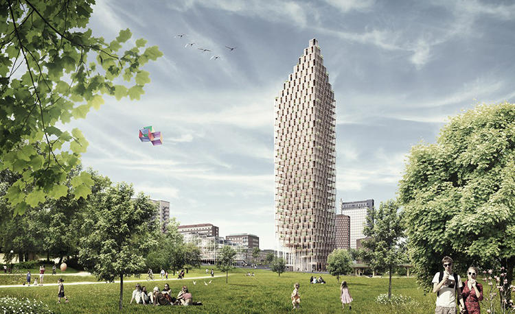 <p>This is the proposed design for a timber-framed apartment tower, submitted to the Swedish building society HSB Stockholm's competition for residences of the future.</p>