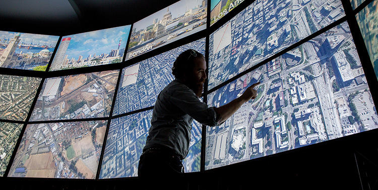 <p>The Urban Observatory is an immersive exhibit featuring standardized comparative data on over 16 cities.</p>