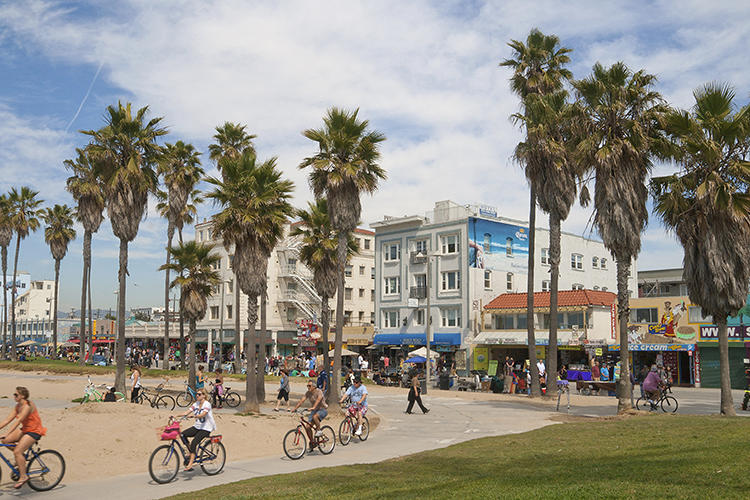 <p>Nikolay Lamm's renderings of the California coast show what it will look like if the oceans rise as projected. Here is Venice Beach today.</p>
