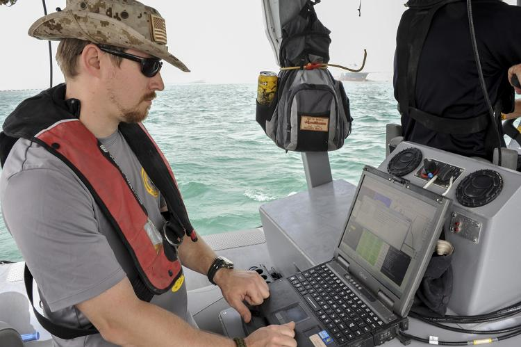 <p>Checking findings from an underwater drone in the field.</p>