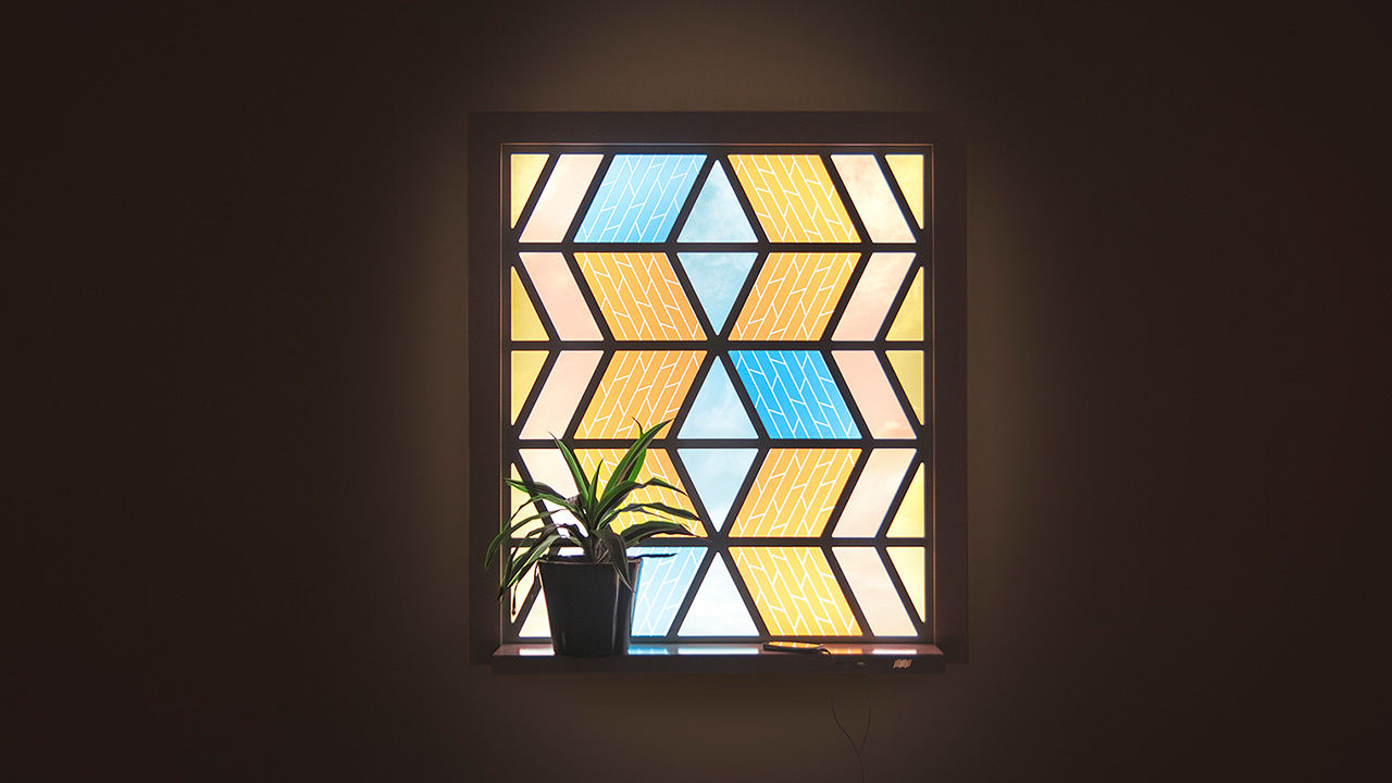 This modern stained glass window doubles as a solar panel for Modern glass window design