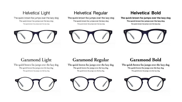 Glasses Frames Styles Names : Helvetica And Garamond Glasses Turn Fonts Into Frames Co ...
