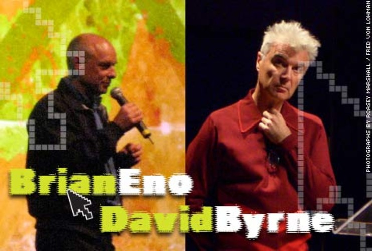 <p>Byrne, former front man of the Talking Heads, and Eno, essentially the father of ambient music and the producer of landmark records from the likes of U2 and Coldplay, have collaborated on a range of projects. On the 25th anniversary of their 1981 album <em>My Life in the Bush of Ghosts</em>, they released tracks that could be remixed by fans and posted in an online contest. They also released an online-only album this year. Byrne meanwhile has an avid following for his monthly online radio show. And Eno created his own iPhone app, called Bloom, which turns the phone into a combination musical instrument/art piece.</p>