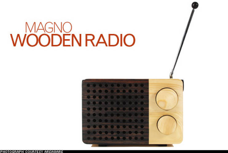 <p>Singgih Kartono's radio is retro and socially conscious: It's crafted from sustainably harvested wood by Indonesian carpenters (creating more jobs for those making traditional handicrafts). It comes in three sizes, but the small one -- with its sleek black speakers -- is our favorite. Powered by AA batteries and mp3 player-compatible, it's still high-tech.</p>  <p>Price: $200<br /> More Info: <a href=&quot;http://www.areaware.com/?p=21253&amp;lng=en&amp;id=242&quot; target=&quot;_new&quot;>Magno Wooden Radio</a><br /> </p>