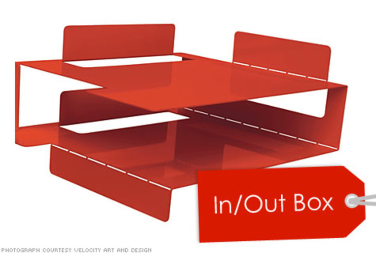 <p>This in/out box, designed by Blu Dot, isn't your typical in/out box. It comes flat, and with a few folds, turns into a two-tiered tray (think Origami Japanese art). </p> <p>Price: $45.00 <br />More Info: <a href=&quot;http://www.bludot.com/Browse_Products/Accessories/product/2d3d_In-out_box&quot; target=&quot;_new&quot;>&quot;In/Out Box</a></p>