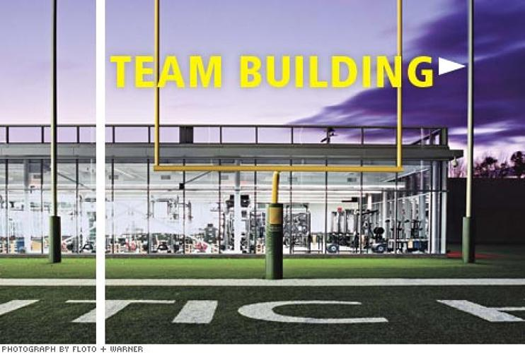 <p>Can architecture lead to better football? Skidmore, Owings & Merrill designed <strong>the NFL's largest practice center</strong> (217,000 square feet) to give the Jets an edge. The perks of the Florham Park, New Jersey, facility, including a 12,000-square-foot weight room, already helped lure QB Brett Favre.</p>