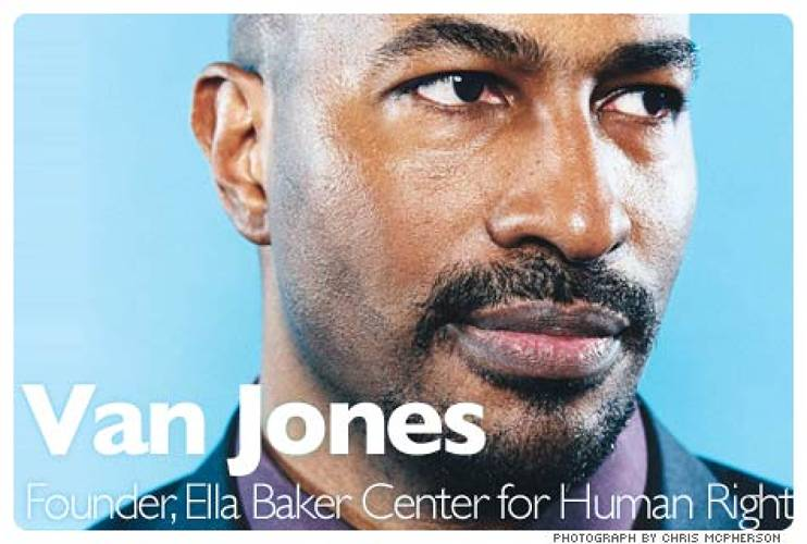 <p>Van Jones has coined the term &quot;green-collar jobs.&quot; Last year, Jones led a coalition of business, labor, and environmental groups that persuaded the Oakland City Council to provide $250,000 in seed money for America's first green-collar-jobs corps. He helped draft the Pathways out of Poverty legislation which pledged $125 million to train 35,000 people a year in green-collar jobs. And in February, Jones launched Green for All, an organization whose goal is to procure $1 billion in federal funding by 2012 for green-collar programs. &quot;We are going to have to weatherize millions of homes and install millions of solar panels. That's millions of new jobs. We need to connect the people who most need the work with the work that most needs to be done,&quot; he says.  <br /><a href=&quot;http://www.fastcompany.com/magazine/125/im-bad-im-slick.html&quot; target=&quot;_new&quot;><em>Learn more</em></a>  </p>