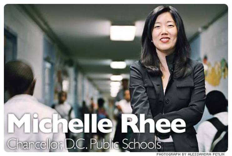 <p>When she was appointed by Mayor Adrian Fenty just over a year ago, Michelle Rhee had never led a school, let alone a school system with 10,000 employees and a budget of nearly $1 billion. Since then, she has shuttered 23 schools, canned 15% of the central-office staff, fired 250 teachers who failed to get NCLB-required certification, and bought out more than 200 others. As the new school year gets under way, she is pushing a revolutionary contract that may simultaneously kill the entrenched seniority hiring system and make Washington's teachers the highest paid in America. Her work has gained national attention, even down to a name-checked during the presidential debates between Barack Obama and John McCain. &quot;We have a system that does wrong by poor kids of color. If we're going to live up to our promise as a country -- supposedly the greatest country -- that has got to stop,&quot; Rhee says.  <br /><a href=&quot;http://www.fastcompany.com/magazine/128/the-iron-chancellor.html&quot; target=&quot;_new&quot;><em>Learn more</em></a>  </p>