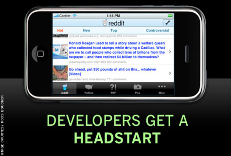 <p> Apple starts developers off with a surfeit of pre-made code. &quot;When you see the taskbar at the bottom of an app, and the nav bar at the top–those are built-in system objects,&quot; Boucher says. &quot;The list function that you see in iReddit is just a modified version of list in Mail; that's also standard.&quot; Even more complex tasks, like viewing a webpage inside an app, can be accomplished with Apple-built shortcuts. &quot;iReddit makes use of an object called UI-webview, which allows you to view an external webpage inside the app, without having to open up Safari,&quot; Boucher explains. </p>