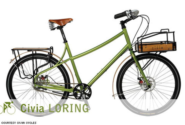 <p> The Loring's name is evocative of the word &quot;lorry,&quot; a heavy-duty transport truck. If such a thing existed in bike form, this would be it--with a heavy dose of style. Civia's multi-purpose front rack features wood accents and plenty of tie-downs for your stuff, and the rear rack lets you lash down the awkward-shaped stuff that won't fit on the front end.  </p> <p> <em>For:</em> Around town<br /> <em>Price:</em> $1,730<br /> <em>From:</em> <a href=&quot;http://www.civiacycles.com/civiacomplete_loring.php&quot; target=&quot;_new&quot;>Civia Cycles</a> </p>