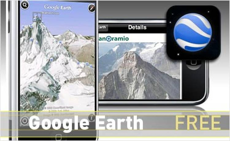<p> Integrated with geo-located Wikipedia entries and photos from Panoramia, Google Earth ties viewing perspective to the phone's tilt. <br /> Also available on BlackBerry.  </p> <p> <a href=&quot;http://www.google.com/mobile/apple/earth.html&quot; target=&quot;_new&quot;><strong>Learn more about this app</strong></a> </p>