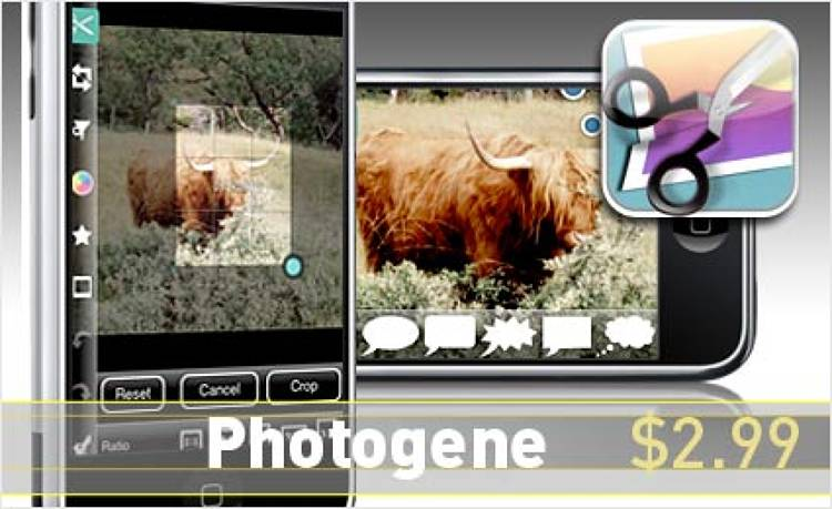 <p> A slick image editor that supplements basics (crop, level) with amusing perks like thought bubbles and heat-map shading.  </p> <p> <a href=&quot;http://www.i-photogene.com/photogene/main.html&quot; target=&quot;_new&quot;><strong>Learn more about this app</strong></a> </p>