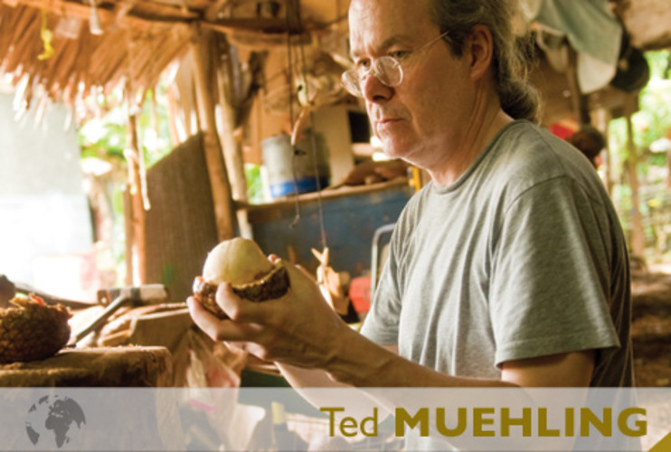 <p> New York jewelry designer Ted Muehling looks at ivory palm nuts in a carving hut on the Micronesian island of Pohnpei.  </p>